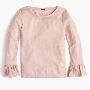J. Crew Blush Sparkle Bell Long Sleeve Top